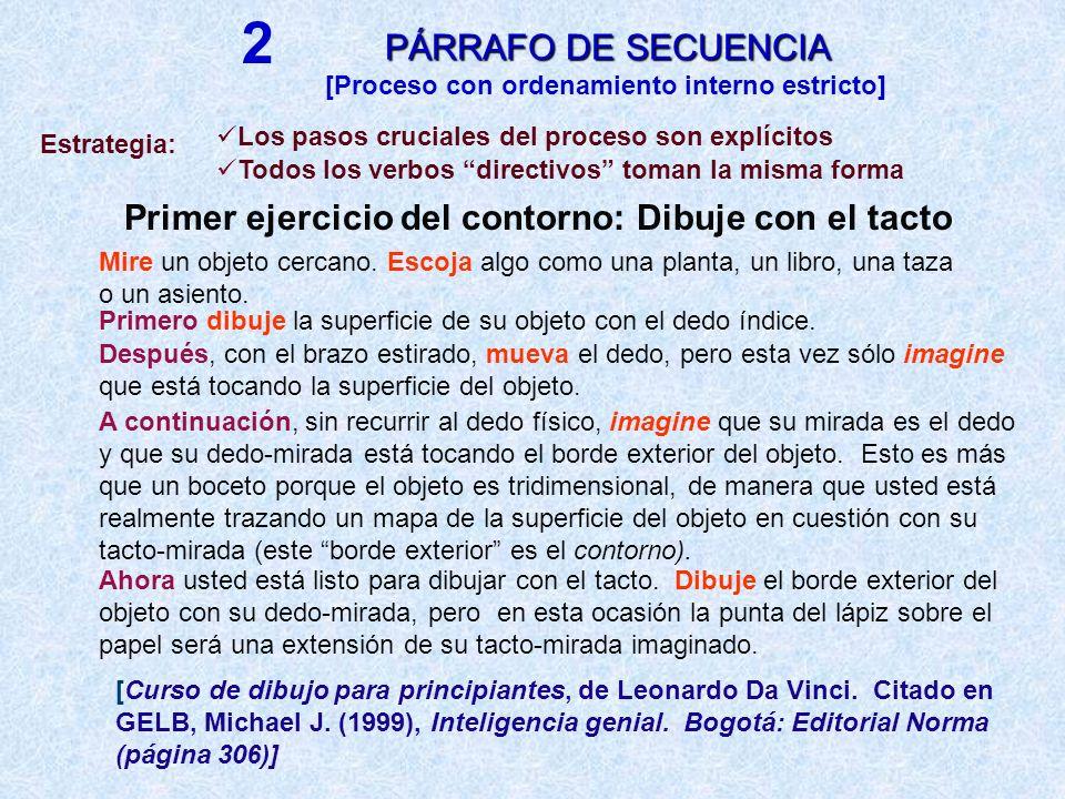 2PÁRRAFO DE SECUENCIA. [Proceso con ordenamiento interno estricto] Los pasos cruciales del proceso son explícitos.